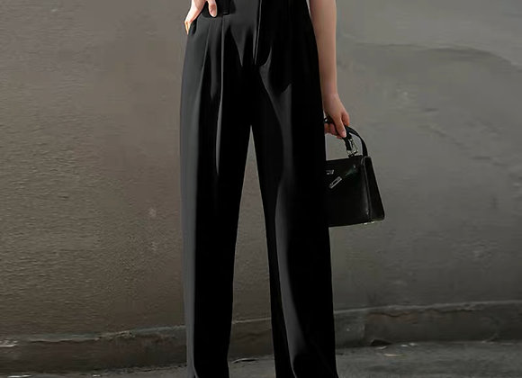High Waisted Straight Leg Pants In Black