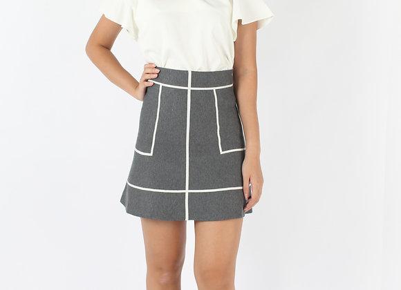 Basic Knit Skirt In Grey