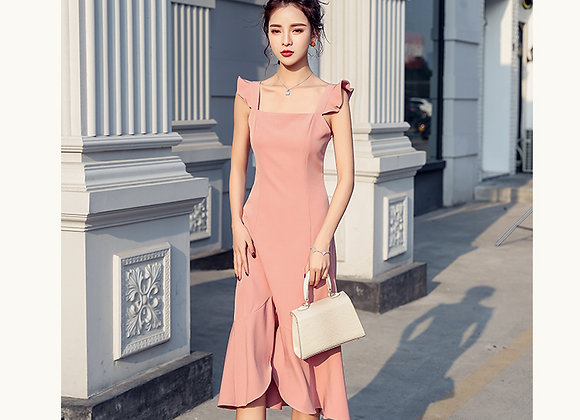 Abigail Ruffled Sleeves Midi Dress In Pink
