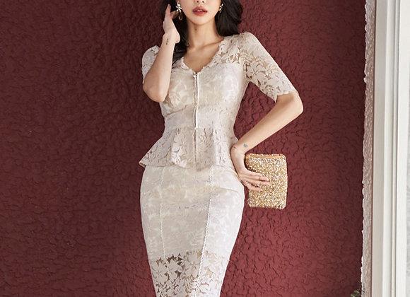 Linn Lace Dress In White
