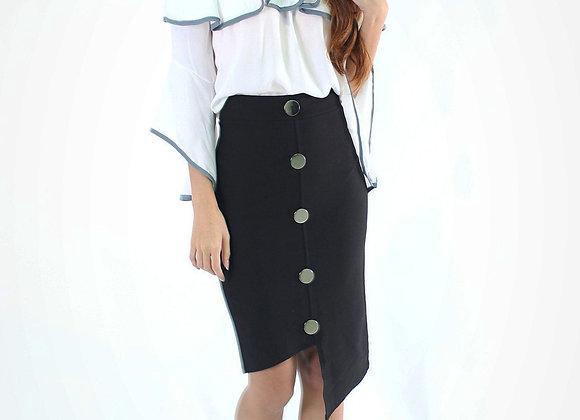 Asymmetric Button Pencil Skirt in Black