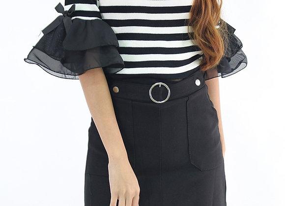 Finn Buckle Belt Skirt in Black