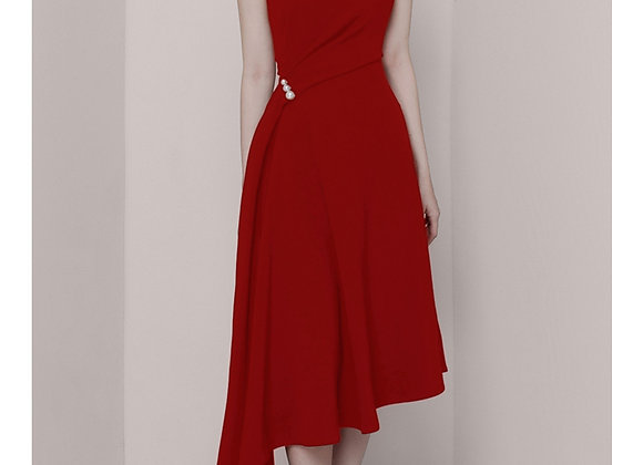 Faith Flowy Midi Dress In Red