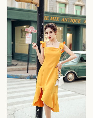 Ruffled sleeves dress mustard.jpg