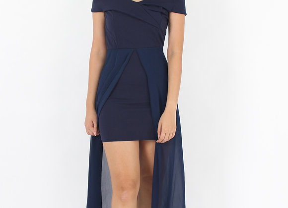 Elite Off-Shoulder Dress In Navy Blue
