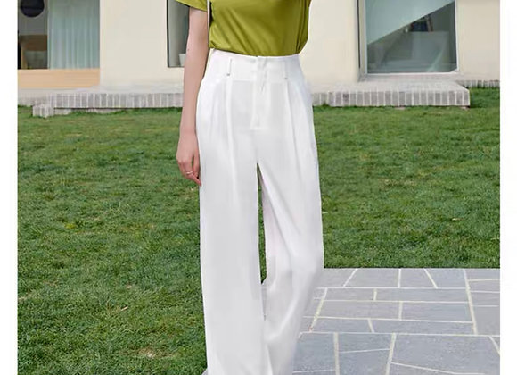 High Waisted Straight Leg Pants In White
