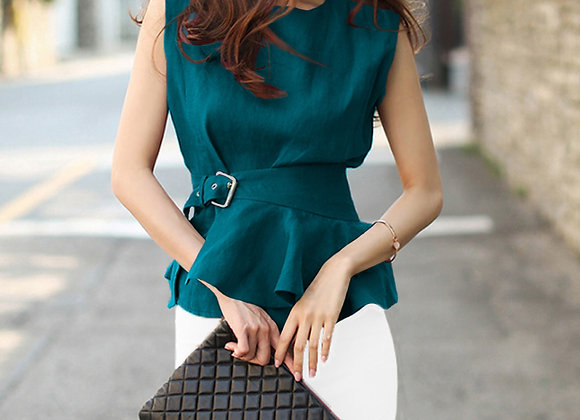 Jen Sleeveless Belted Top In Turquoise