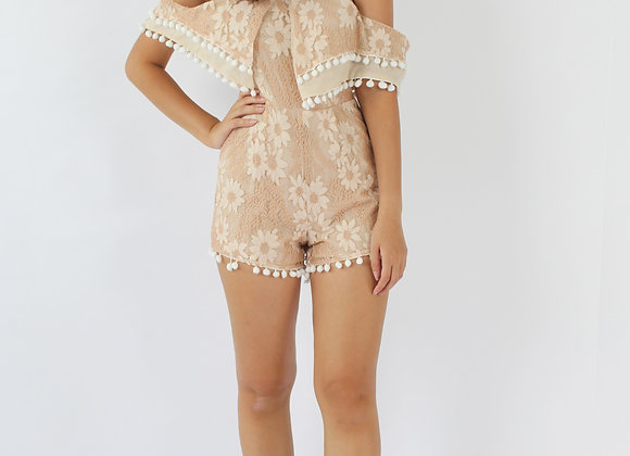 Tribal Lace Romper in Beige