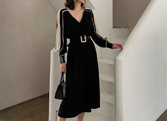 Meg Long Sleeves Work Dress In Black