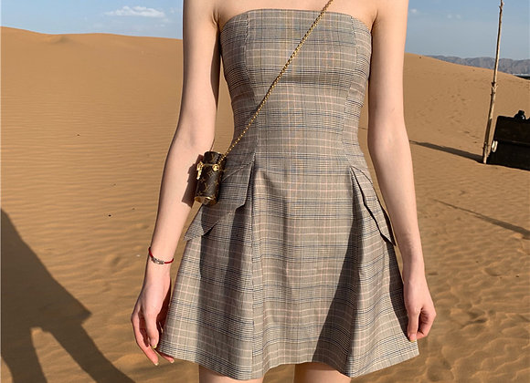 Marilee Checkered Tube Dress