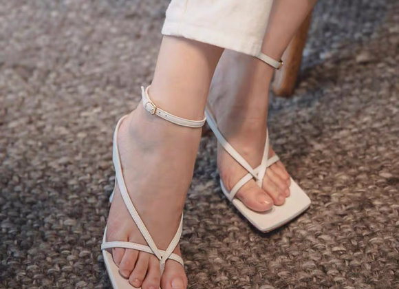 Heeled Strappy Square Toe Sandals