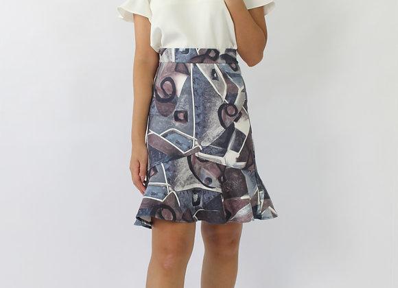 Geo Asymmetric Skirt In Purple