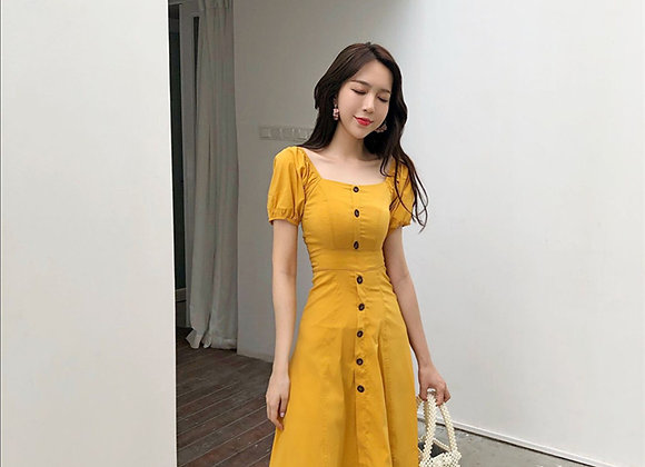 Paula Casual Button Midi Dress
