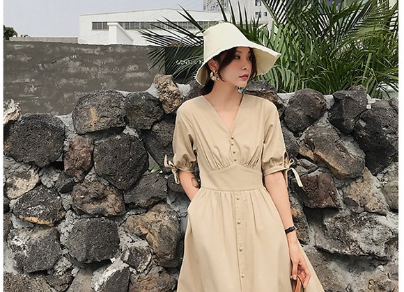 Diane Baby Doll Dress In Beige