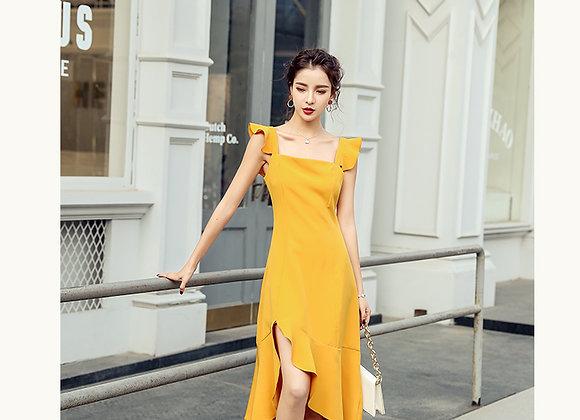 Abigail Ruffled Sleeves Midi Dress In Mustard