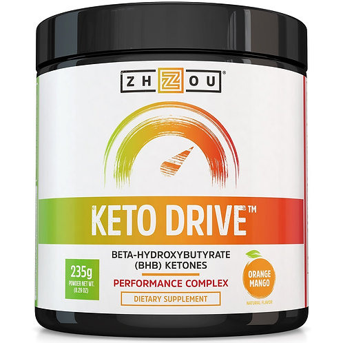Zhou Nutrition Keto Drive BHB Ketones Performance Complex Orange Mango 235g