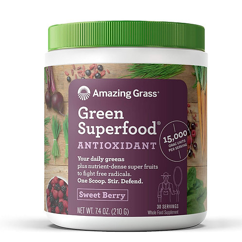 Amazing Grass Green Superfood Antioxidant Organic Powder, 30servings