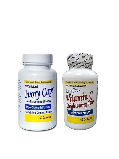 Ivory Caps Triple Strength Glutathione with Ivory Caps Vitamin C Set