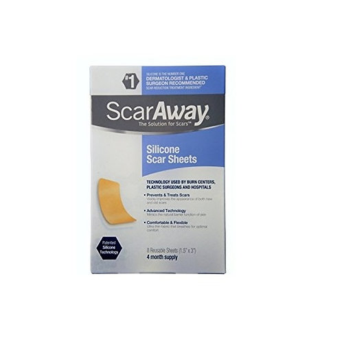 """ScarAway Sheets 4-Months Supply Silicone Scar Sheets 8 Sheets (1.5"""" x 3"""")"""