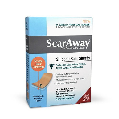 """ScarAway Sheets 3-Months Supply Silicone Scar Sheets 12 Sheets (1.5"""" x 3"""")"""