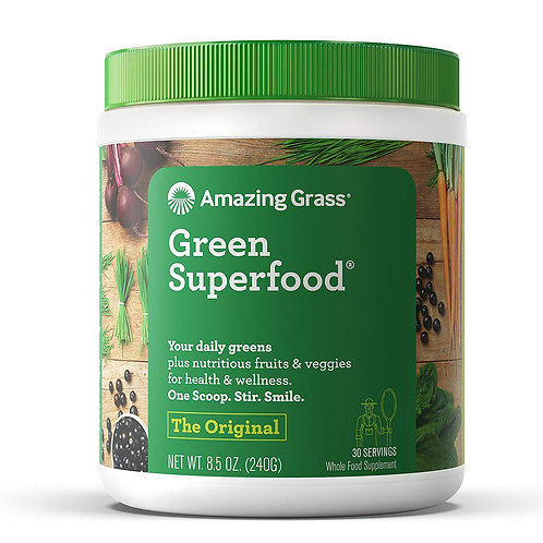 Amazing Grass Green Superfood Organic Powder Wheat Grass & Greens, 30servings