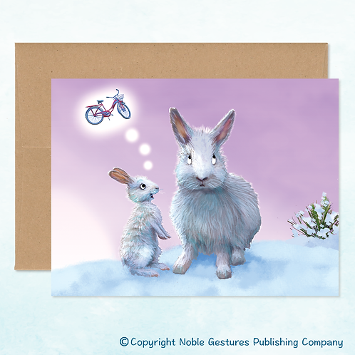 'Holiday Bunnies' Note Card