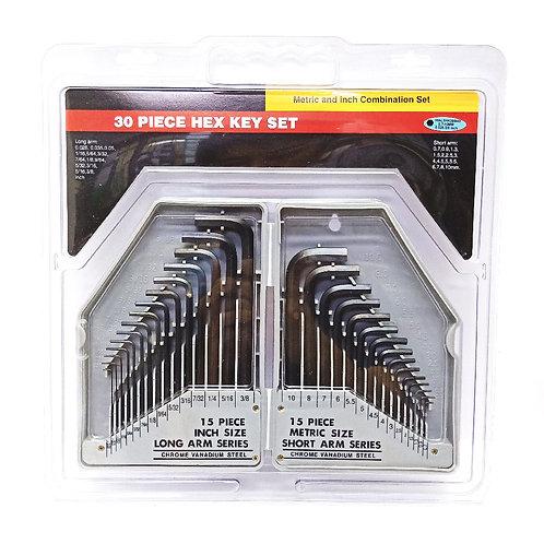 30PCS Hex Key MM & AF Set