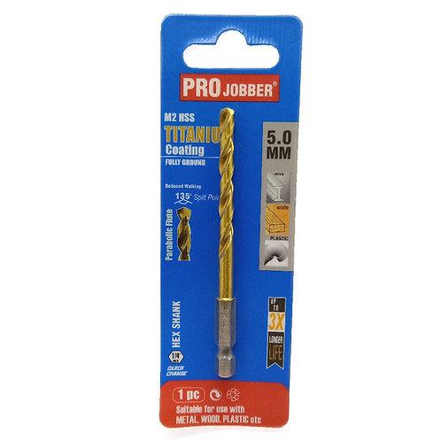 Projobber Titanium 5.0mm Hex Shank HSS Drill Bit