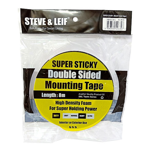 Steve & Leif Super Sticky Double-Sided Foam Mounting Tape 4630 12mm by 8m Black