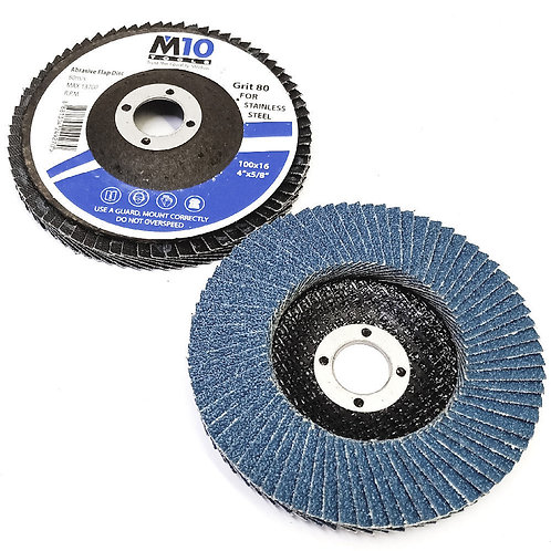 M10 100MMx16 #80 Abrasive Flap Disc SS