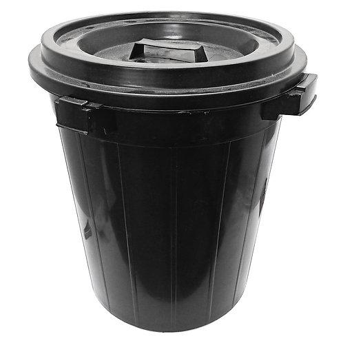Black Plastic Rubbish Bin with Cover 26GAL
