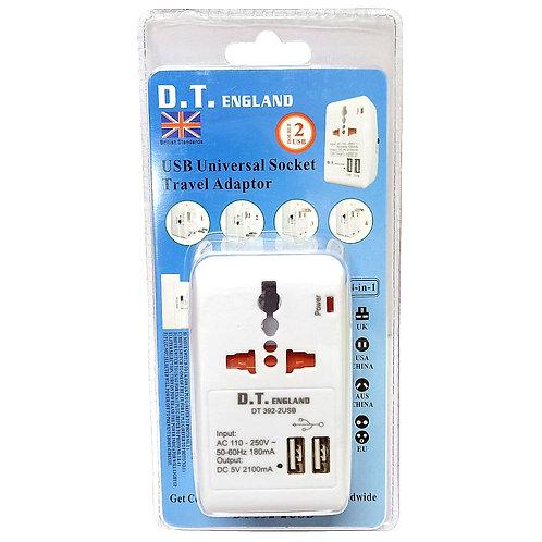 D.T. England DT 392-2USB Universal Socket Travel Adaptor