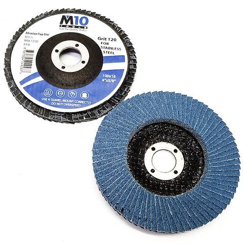 M10 100MMx16 #120 Abrasive Flap Disc SS