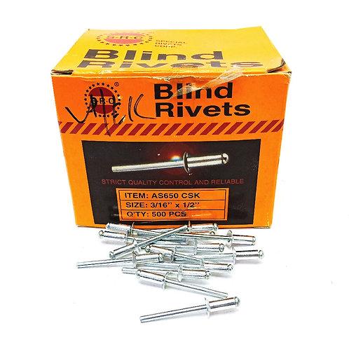 S.R.C CSK 3/16''x1/2'' Alum Blind Rivets AS650