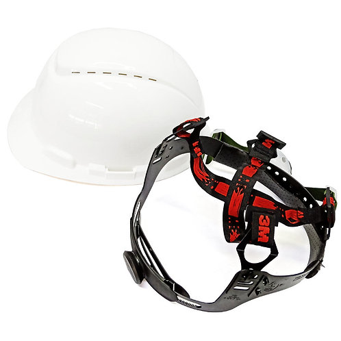3M™ Hard Hat Vented White 4-Point Ratchet Suspension H-701V