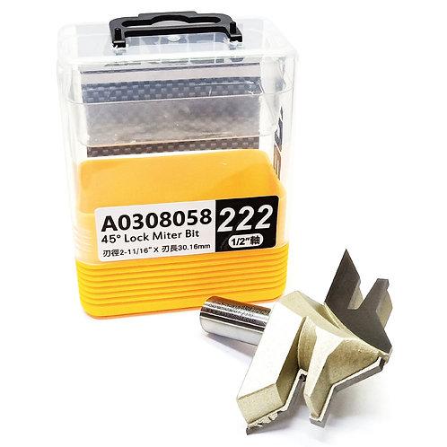 """#222 1/2""""x2-11/16""""x30.16mm Arden 45^ Lock Miter Bit"""