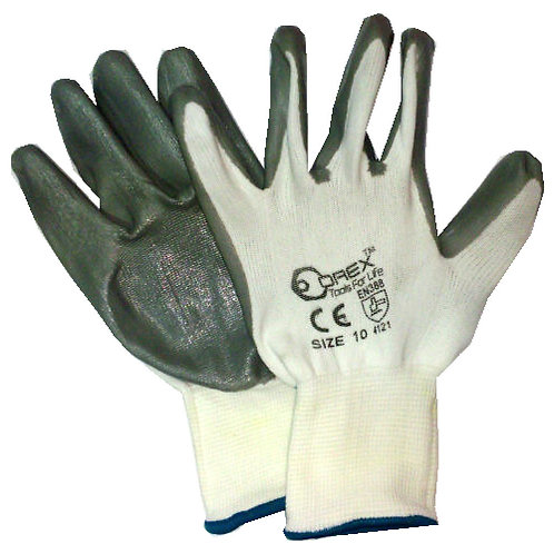 Orex Safety Glove with White Polyester & Gray Nitrile 10