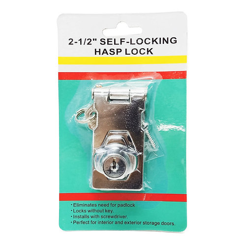 "2-1/2"" Hasp & Staples with Lock (Self-Locking Hasp Lock)"