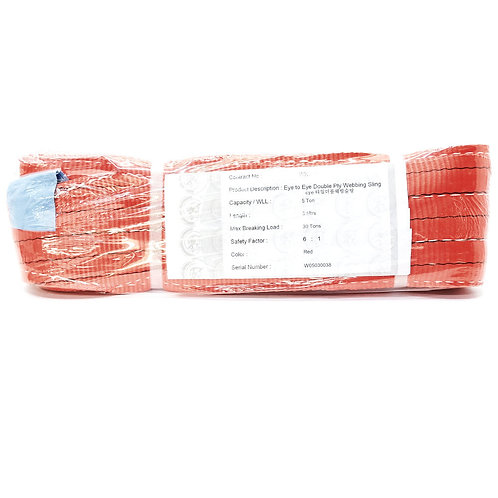 Warrior 5Tx3M Eye to Eye Double Ply Webbing Sling (Red)