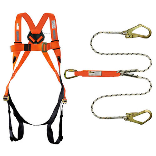 Orex Safety Full Body Harness with Energy Absorber Double Hook Rope Lanyard(6.5)