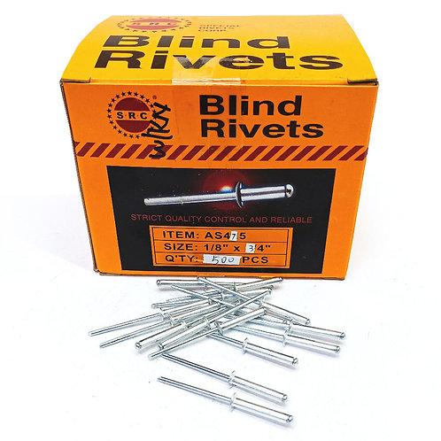 "S.R.C 1/8""x3/4"" Alum Blind Rivets AS475"