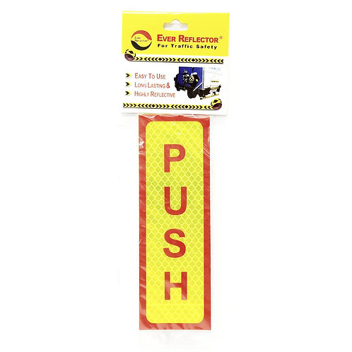 "2""x6"" Push Label (Red Wording)"