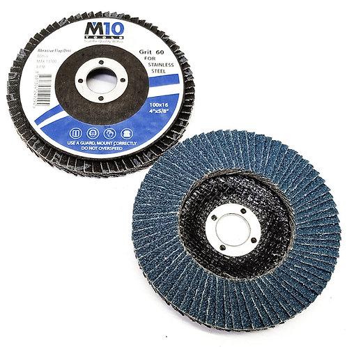M10 100MMx16 #60 Abrasive Flap Disc SS