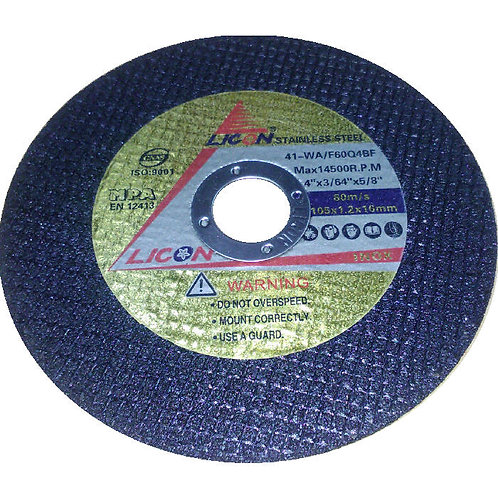 Licon Stainless Steel Cutting Disc 41-WA F60Q4BF 4'' Black 105x1.2x16mm