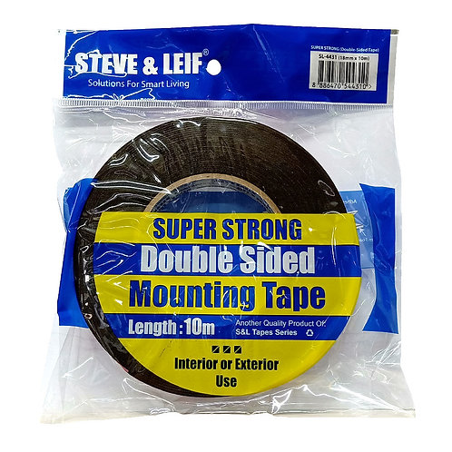 Steve & Leif Super Strong Double-Sided Mounting Tape SL-4431 18mm by 10m Black
