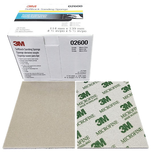 "3M 02600 Softback Sanding Sponge 4-1/2""x5-1/2"" Microfine"