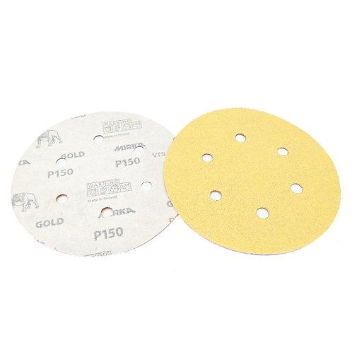 """Mirka Gold Grip 6"""" (150mm) P150 6H 100PCS (Box)"""