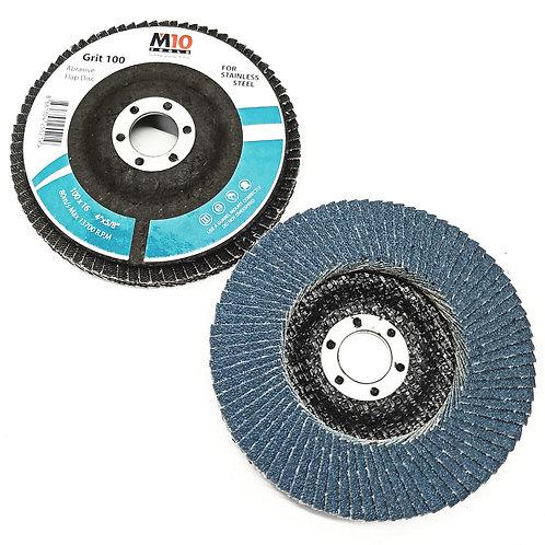 M10 100MMx16 #100 Abrasive Flap Disc SS