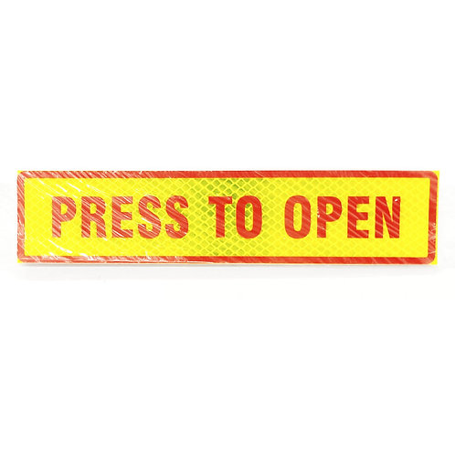 "2""x9"" Press To Open Label (Red Wording)"