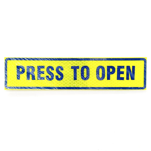 "2""x9"" Press To Open Label (Blue Wording)"